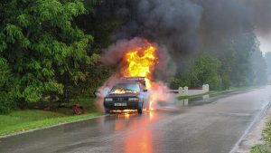 Accident with Car Fire in Chelmsford